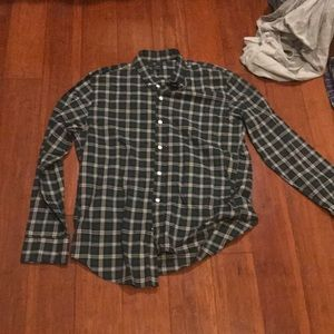 JCrew Mens L Lightly Worn Green Plaid Button down
